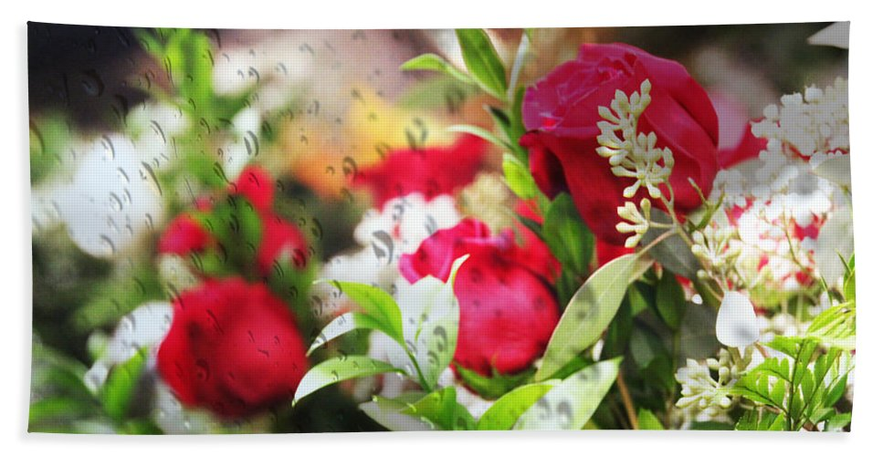 Roses Bath Sheet featuring the photograph Roses In The Rain by Ericamaxine Price