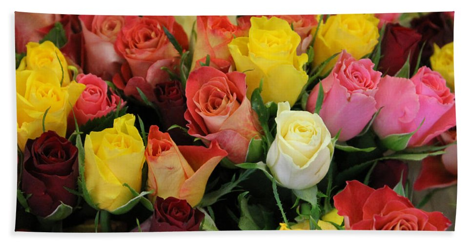 Flower Rose Roses Color Colorful Photograph Market Beauty Hand Towel featuring the photograph Roses by Steve K