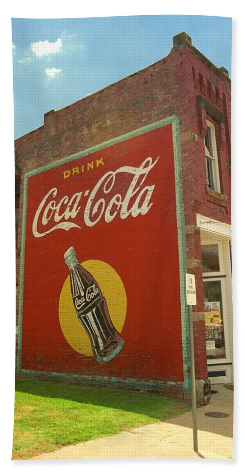 66 Bath Sheet featuring the photograph Route 66 - Coca Cola Ghost Mural by Frank Romeo