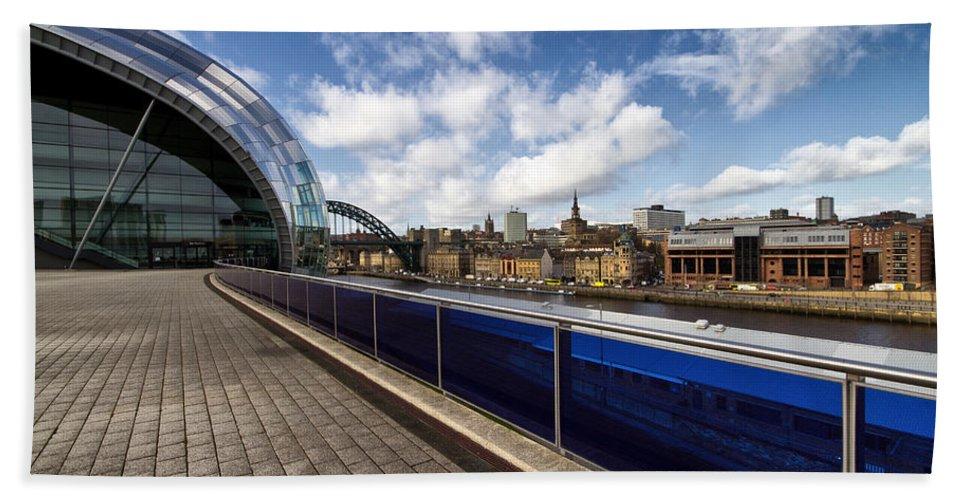 Sage Hand Towel featuring the photograph Sage Gateshead And Newcastle Skyline by David Pringle