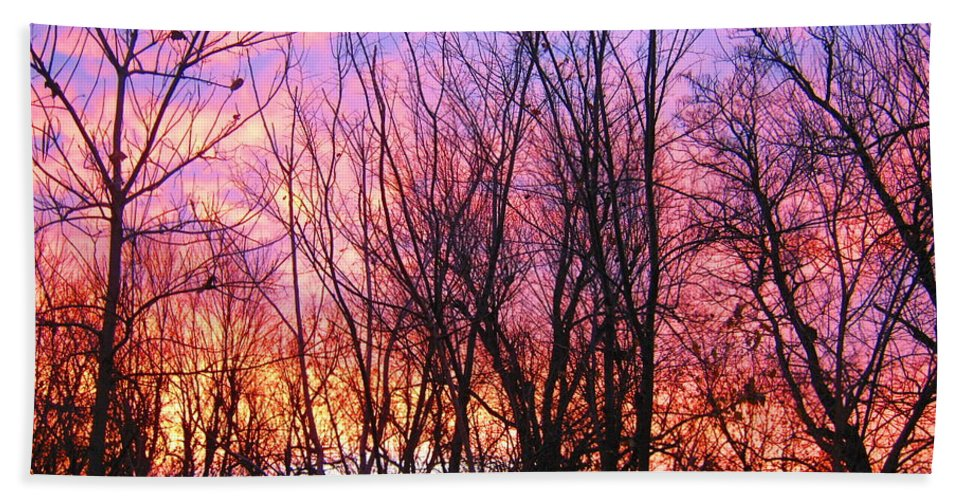 Sunrises Bath Sheet featuring the photograph Red Sky In Morning by Samantha Storment