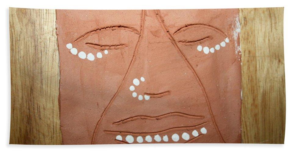 Jesus Hand Towel featuring the ceramic art Samuel - Tile by Gloria Ssali