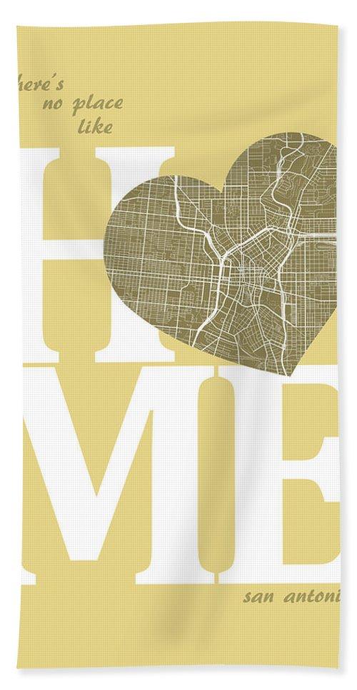 Road Map Bath Sheet featuring the digital art San Antonio Street Map Home Heart - San Antonio Texas Road Map I by Jurq Studio