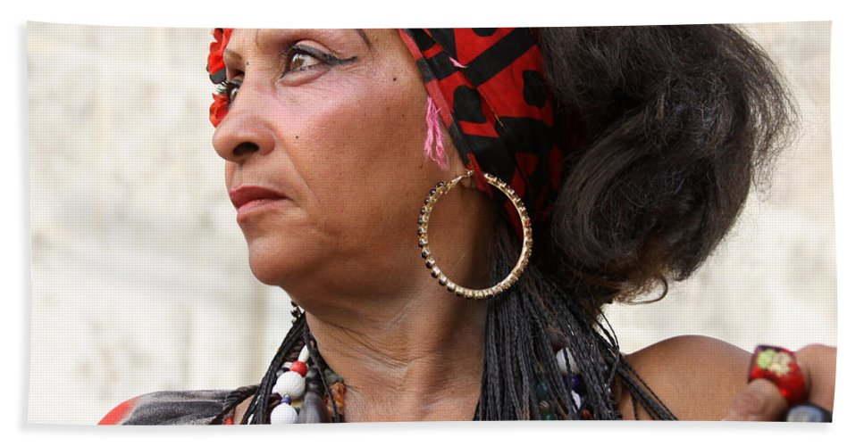 Portrait Bath Sheet featuring the photograph Santeria Woman by PJ Boylan
