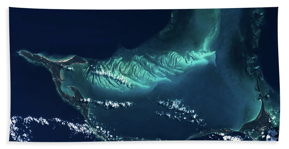 Photography Bath Sheet featuring the photograph Satellite View Of Turks And Caicos by Panoramic Images
