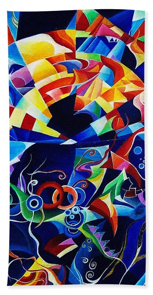 Alexander Scriabin Piano Sonata No.10 Acrylic Abstract Music Bath Towel featuring the painting Scriabin by Wolfgang Schweizer