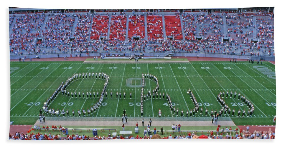 Osu Hand Towel featuring the photograph 27w115 Script Ohio In Osu Stadium by Ohio Stock Photography