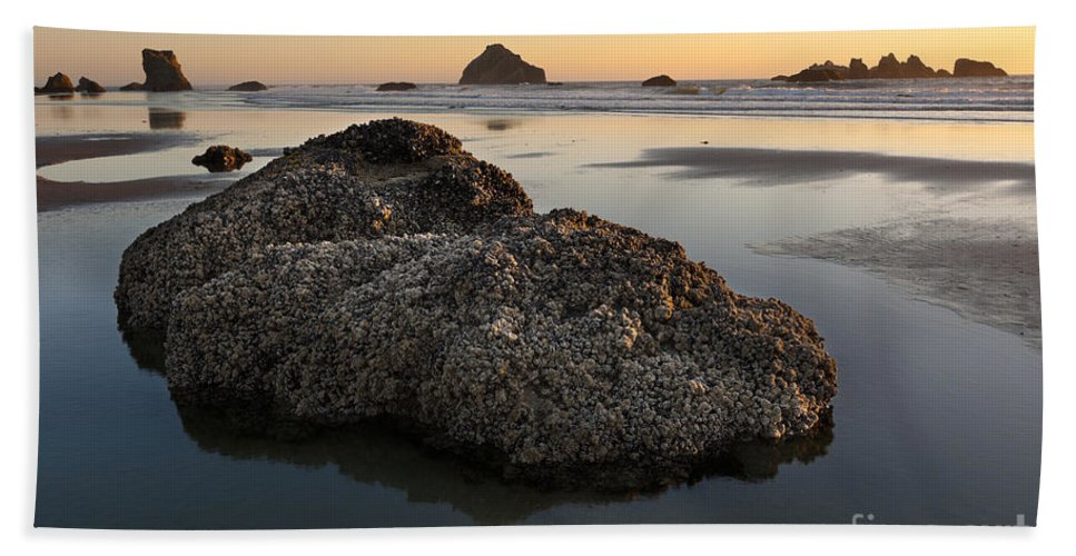 Nature Bath Sheet featuring the photograph Sea Stacks At Sunset by John Shaw