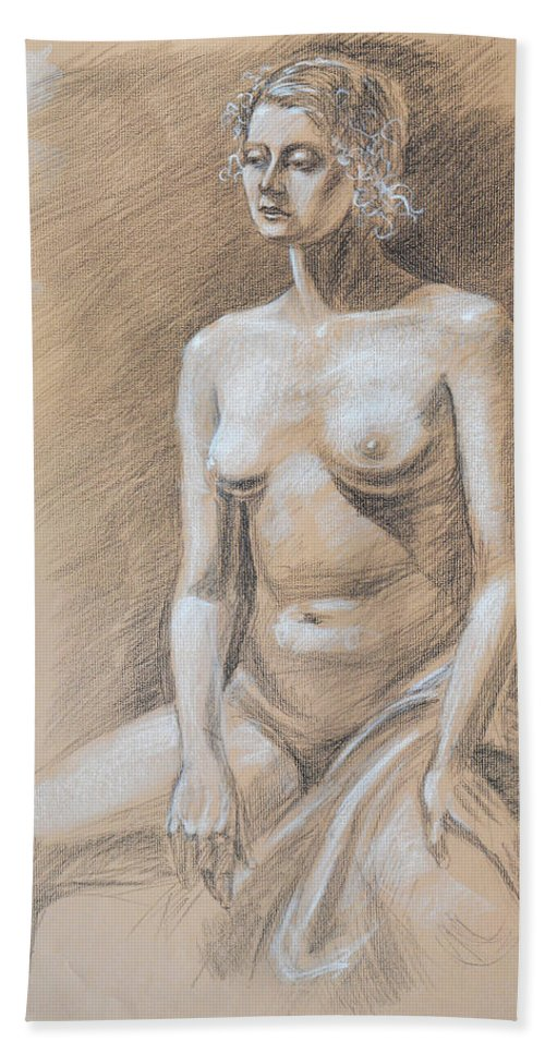 Nude Hand Towel featuring the drawing Seated Model Drawing by Irina Sztukowski