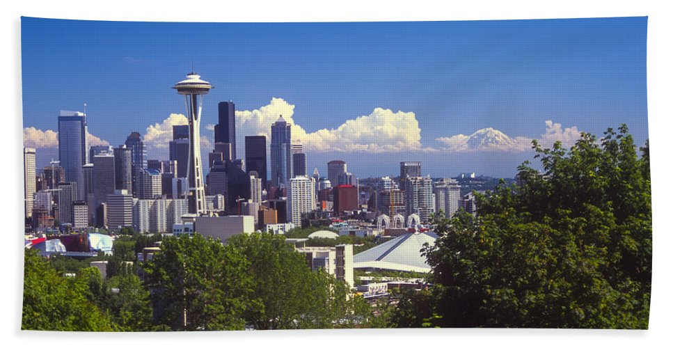 Seattle Hand Towel featuring the photograph Seattle City View by Bob Phillips
