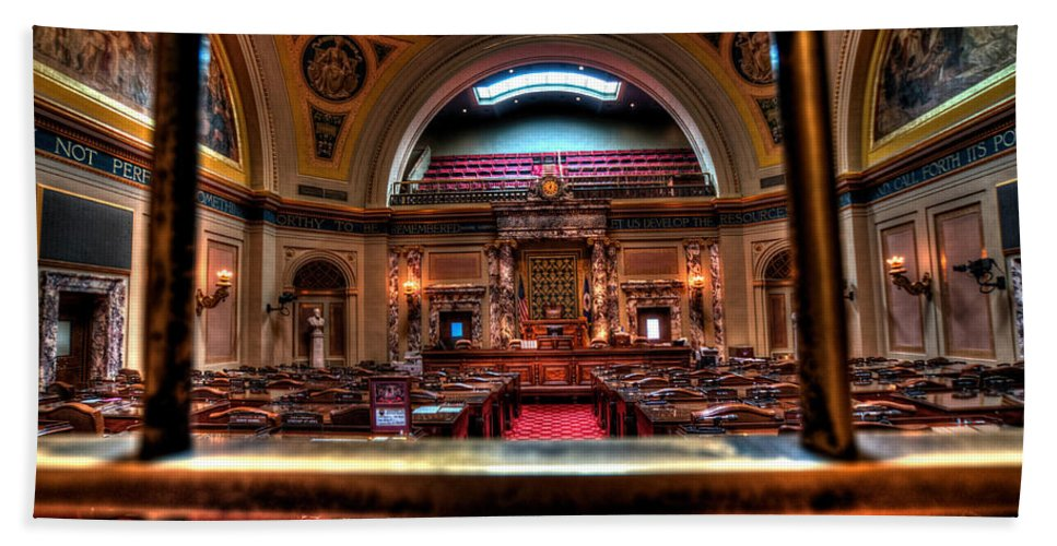 Minnesota State Capitol Hand Towel featuring the photograph Senate Chamber by Amanda Stadther