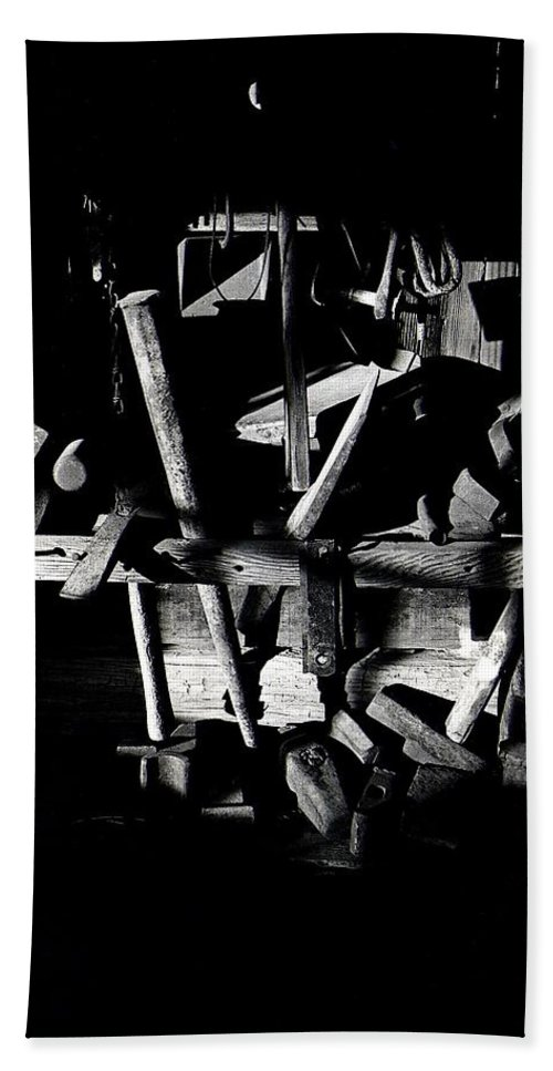 Sid Wilson's Tools For Building Stagecoaches Pick 'em Up Ranch Tombstone Arizona 1979 Bath Sheet featuring the photograph Sid Wilson's Tools For Building Stagecoaches Pick 'em Up Ranch Tombstone Arizona 1979 by David Lee Guss