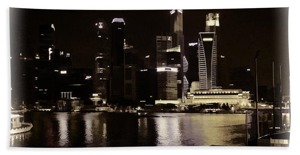 Asia Bath Sheet featuring the photograph Singapore Skyline As Seen From The Pedestrian Bridge by Ashish Agarwal