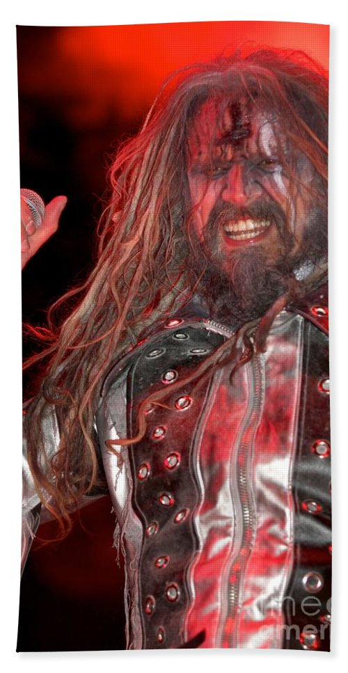 Make Up Hand Towel featuring the photograph Singer Rob Zombie by Concert Photos
