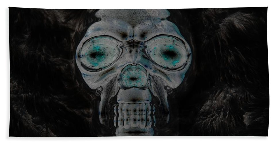 Skull Hand Towel featuring the photograph Skull In Negative by Rob Hans