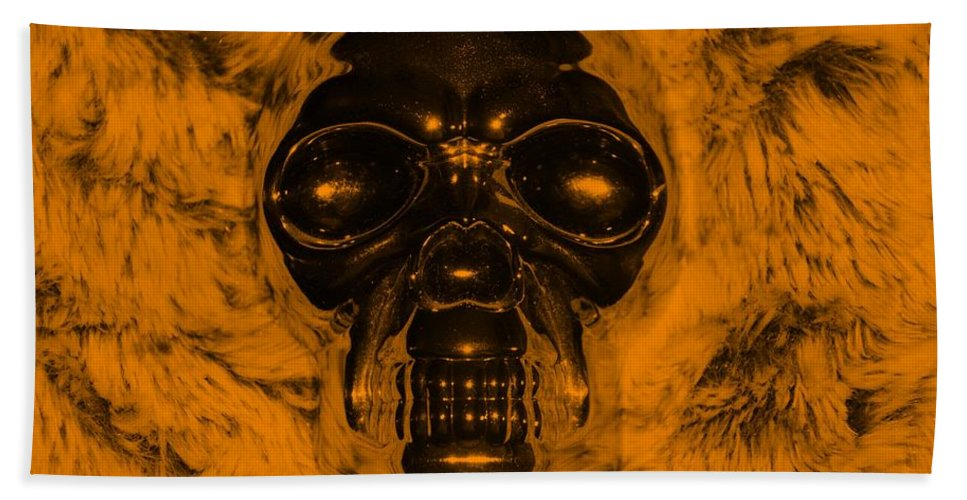Skull Bath Sheet featuring the photograph Skull In Orange by Rob Hans