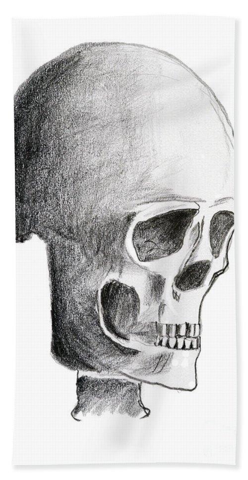 Halloween Bath Sheet featuring the drawing Skull by Michal Boubin
