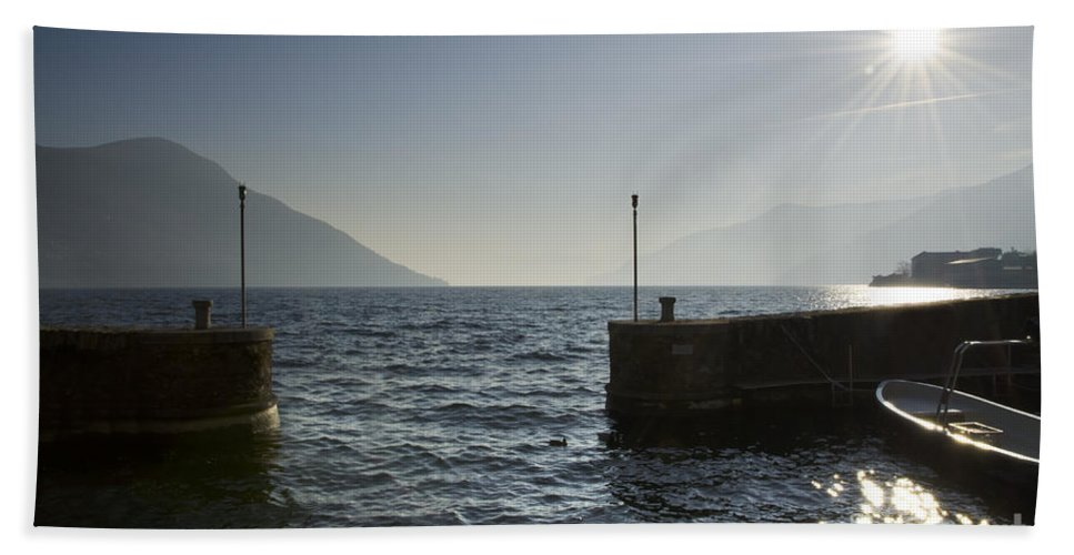 Port Hand Towel featuring the photograph Small Port In Backlight by Mats Silvan
