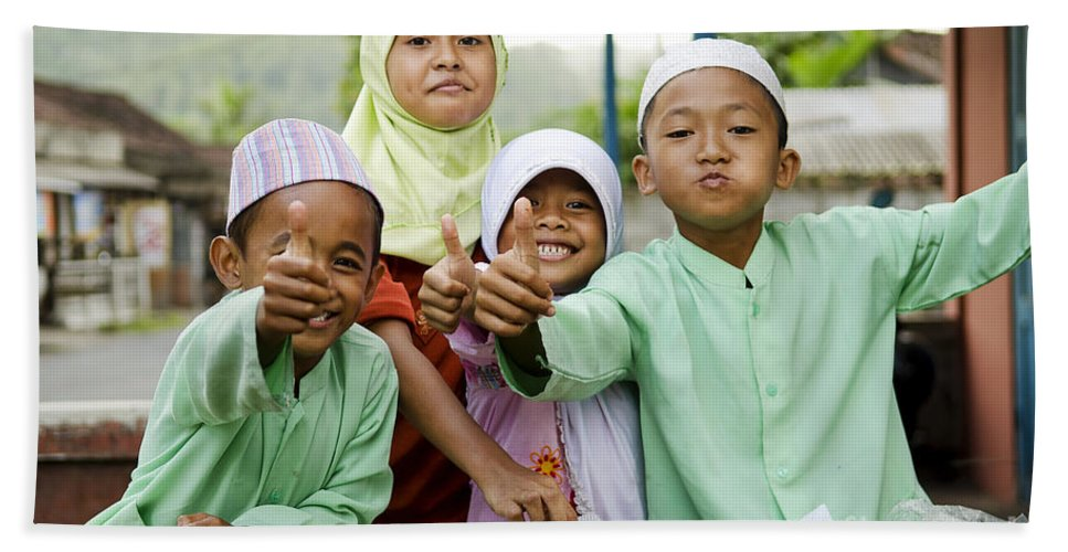 Asia Bath Sheet featuring the photograph Smiling Muslim Children In Bali Indonesia by Jacek Malipan