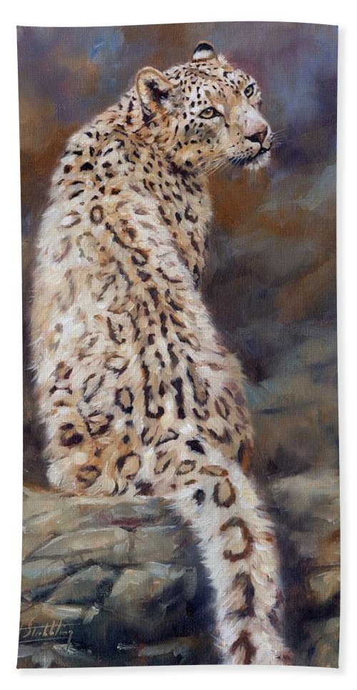 Snow Leopard Bath Sheet featuring the painting Snow Leopard by David Stribbling