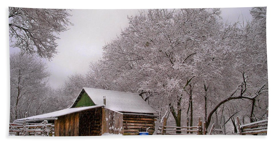 Barn Bath Sheet featuring the photograph Snowy Day On The Farm by David and Carol Kelly