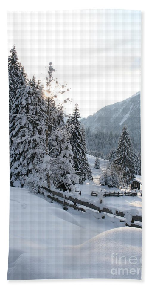 Snow Bath Sheet featuring the photograph Snowy Trees by Christiane Schulze Art And Photography