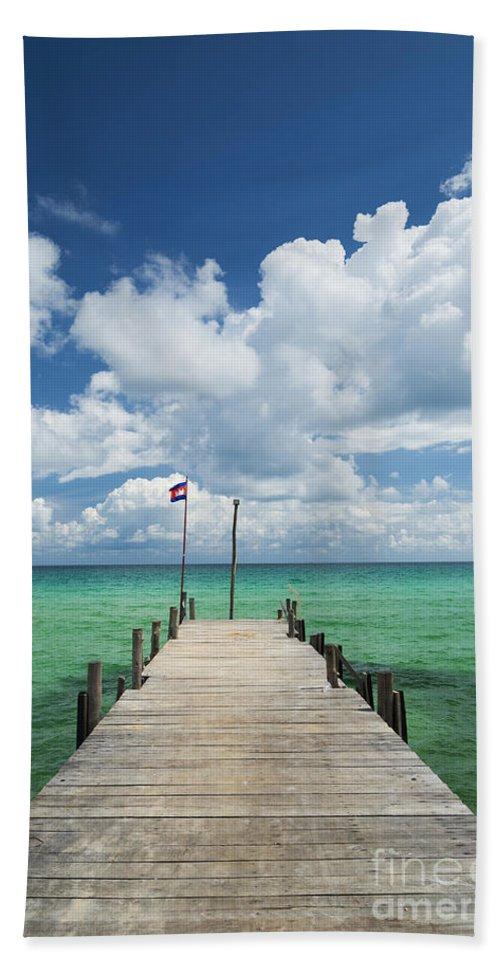 Asia Bath Sheet featuring the photograph Sok San Pier On Long Beach In Koh Rong Island Cambodia by Jacek Malipan