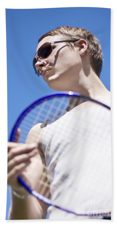 Action Hand Towel featuring the photograph Sporting A Racquet by Jorgo Photography - Wall Art Gallery