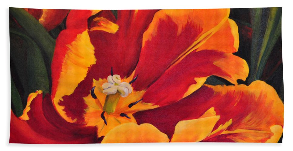 Tulip Hand Towel featuring the painting Spring Fever by Marjory Wilson