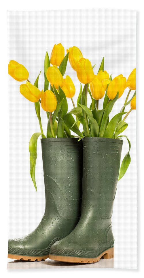 Wellington Boots Hand Towel featuring the photograph Spring Tulips by Amanda Elwell
