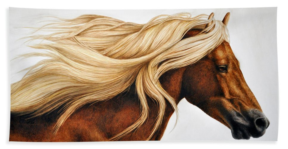 Horse Hand Towel featuring the painting Spun Gold by Pat Erickson