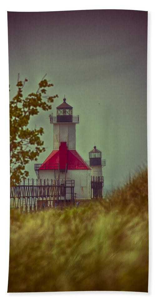 North Pier Bath Sheet featuring the photograph St. Joseph North Pier Lighthouse Lake Michigan. by Jack R Perry