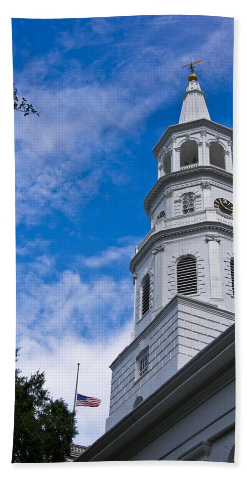Charleston Hand Towel featuring the photograph St. Michael's Episcopal by E Karl Braun