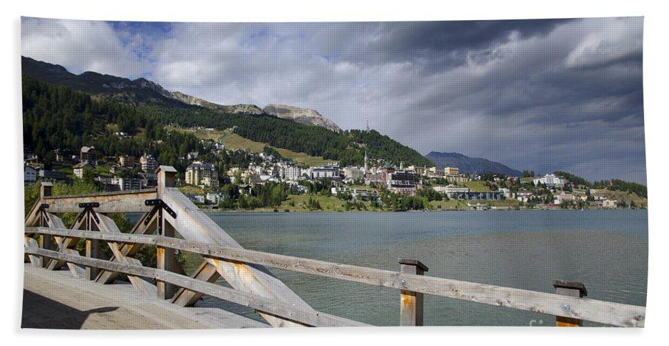 St Moritz Bath Sheet featuring the photograph St Moritz by Mats Silvan