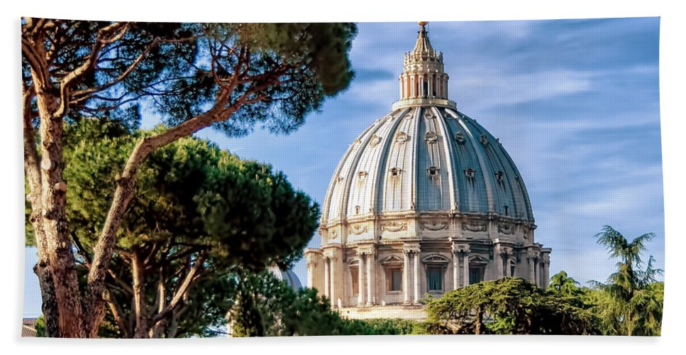 St Peters Hand Towel featuring the photograph St Peters Basilica Dome by Jon Berghoff