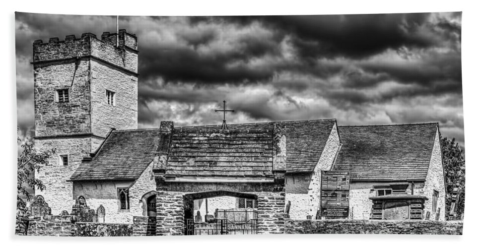 St Sannans Church Bath Sheet featuring the photograph St Sannans Church Bedwellty Mono by Steve Purnell