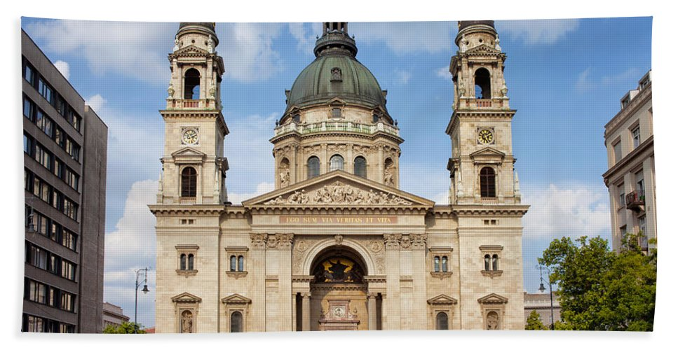 Architectural Hand Towel featuring the photograph St. Stephen's Basilica In Budapest by Artur Bogacki