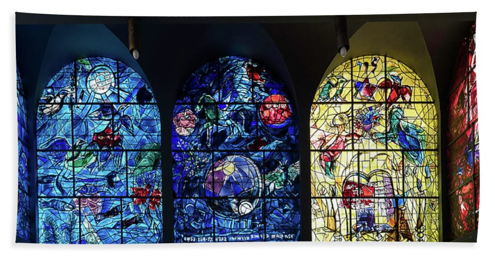 Photography Hand Towel featuring the photograph Stained Glass Chagall Windows by Panoramic Images