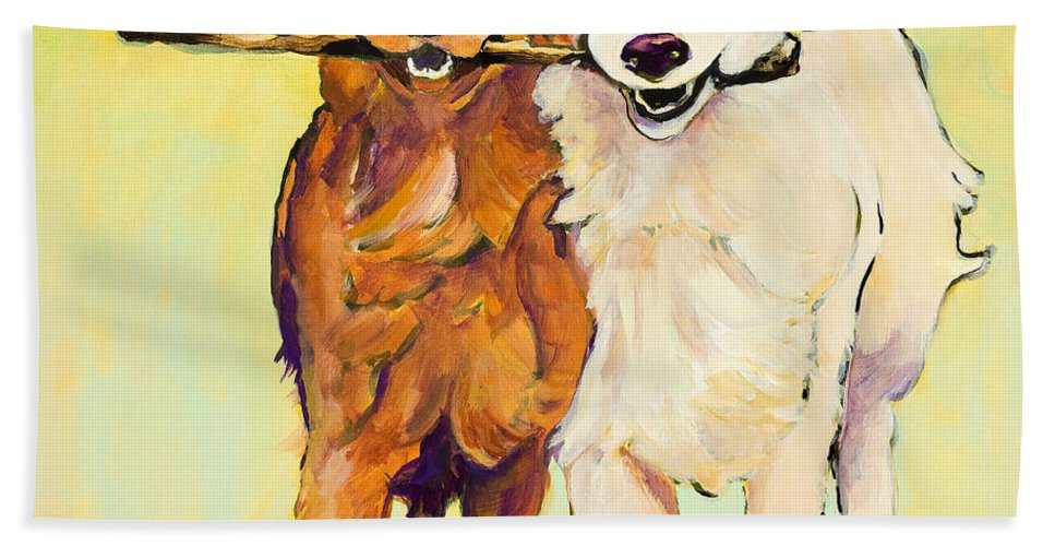 Pat Saunders-white Bath Towel featuring the painting Stick With Me by Pat Saunders-White