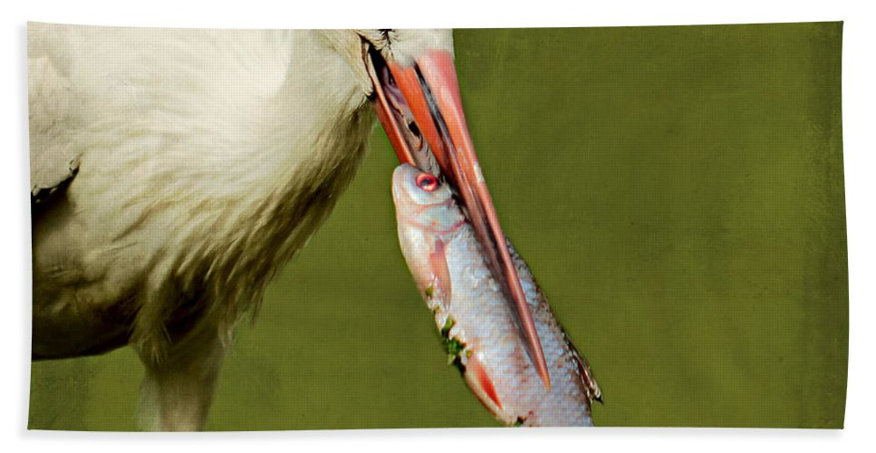 Stork Hand Towel featuring the photograph Stork by Heike Hultsch