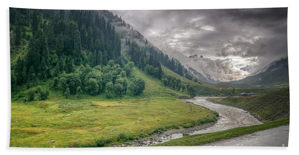 Storm Hand Towel featuring the photograph storm clouds over mountains of ladakh Jammu and Kashmir India by Rudra Narayan Mitra