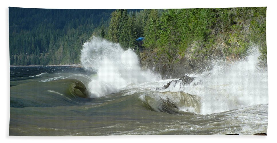 Kootenay Lake Hand Towel featuring the photograph Stormy Lake by Leone Lund