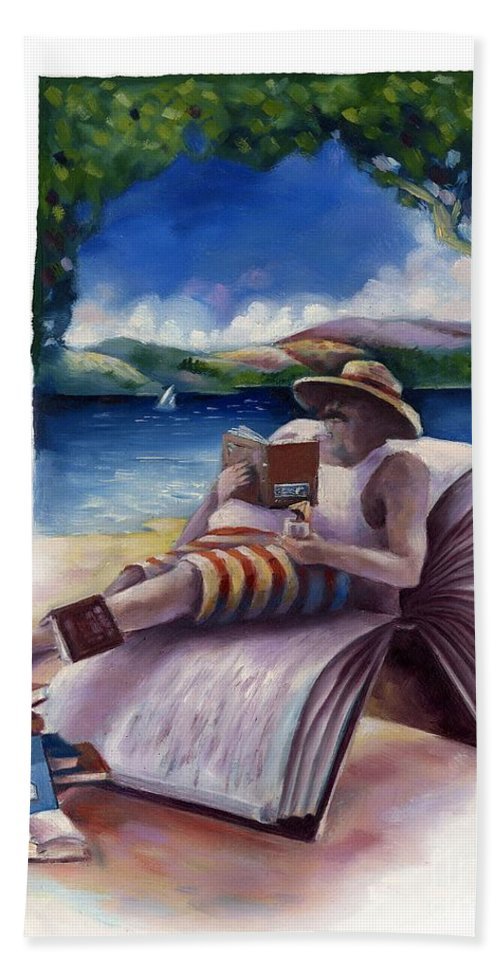 Book Hand Towel featuring the painting Summer Reading by Chris Van Es