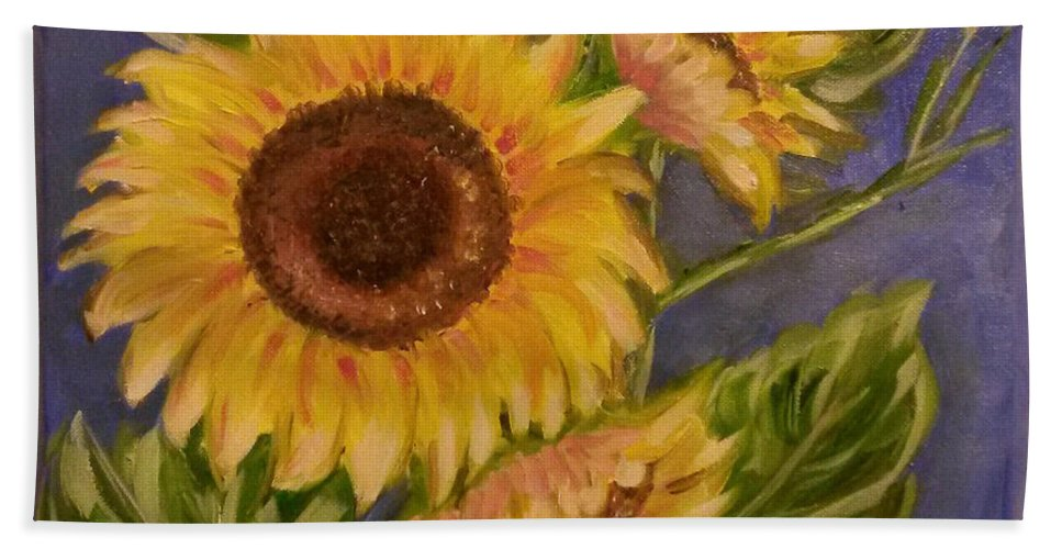 Blue Bath Sheet featuring the painting Sunflower Burst 1 by Mary McLoughlin