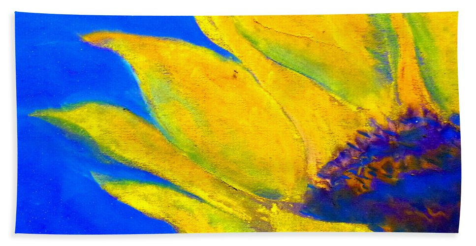 Sunflower Bath Sheet featuring the painting Sunflower In Blue by Sue Jacobi