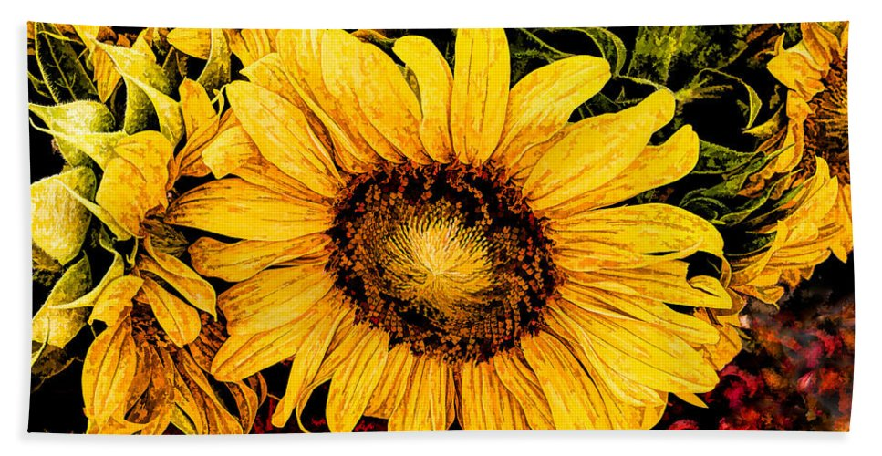 Sunflowers Bath Sheet featuring the photograph Sunflowers by David Kay