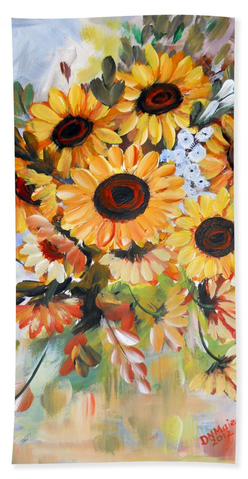 Sunflowers Hand Towel featuring the painting Sunflowers by Dorothy Maier