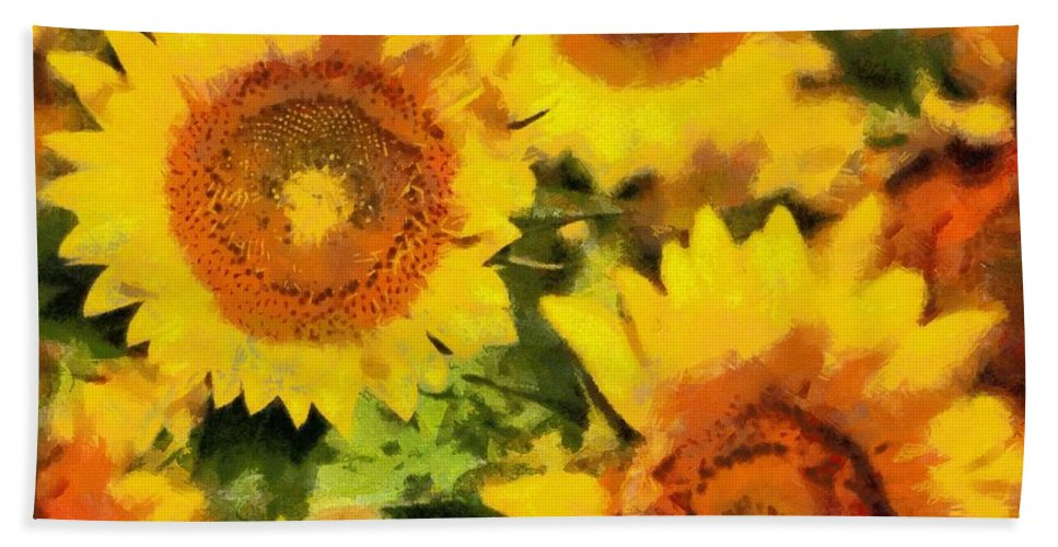 Flower Bath Sheet featuring the painting Sunflowers by Lynne Jenkins