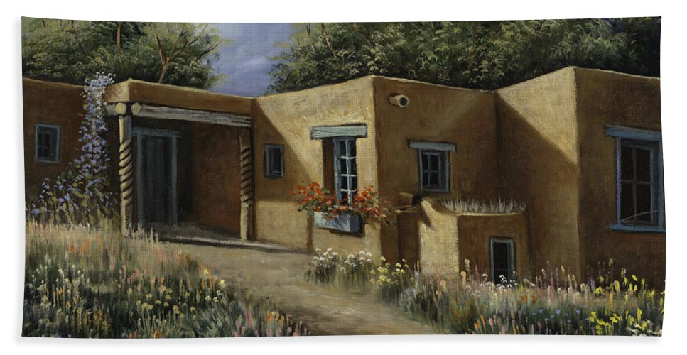 Southwest-landscape Hand Towel featuring the painting Sunny Day by Ricardo Chavez-Mendez