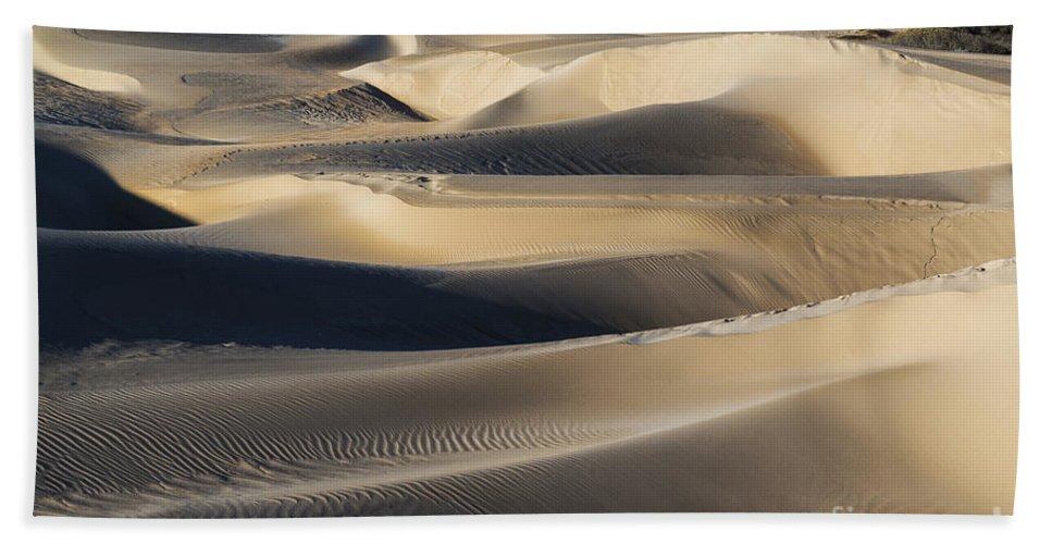 Oceano Sand Dunes Hand Towel featuring the photograph Sunrise At Oceano Sand Dunes by Yefim Bam
